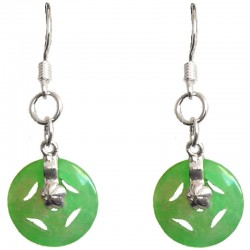 Money sign Green Circle Jade Silver Hook Drop Earrings