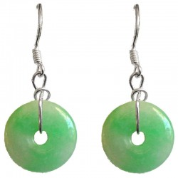 Green Jade Donut Circle Silver Hook Drop Earrings