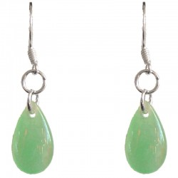 Green Jade Teardrop Silver Hook Drop Earrings