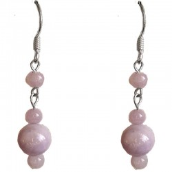 Lavender Jade Bead Silver Hook Drop Earrings