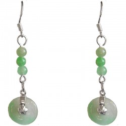 Fashion Women Costume Jewellery, Green Jade Bead & Jade Disc Sterling Silver 925 Hook Drop Earrings