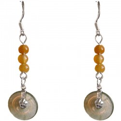Fashion Women Costume Jewellery, Yellow Jade Bead & Dark Green Jade Disc Sterling Silver 925 Hook Drop Earrings