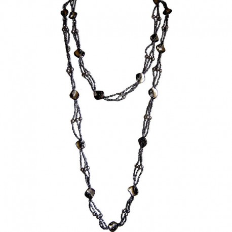 Classic Costume Jewellery Accessories, Fashion Women Small Gift, Grey Mother of Pearl Extra Long MOP Bead Necklace