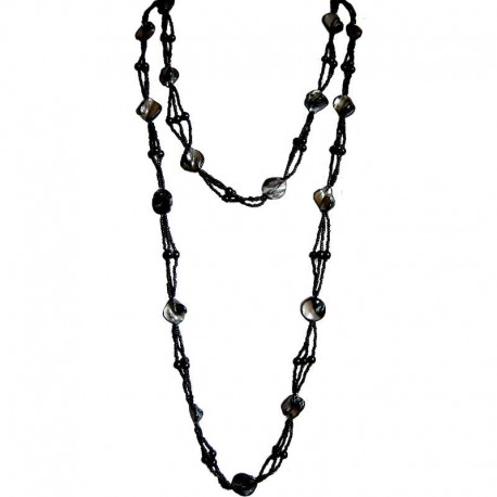 Classic Costume Jewellery Accessories, Fashion Women Small Gift, Black Mother of Pearl Extra Long MOP Bead Necklace