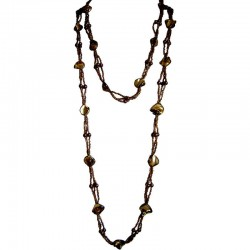 Classic Costume Jewellery Accessories, Fashion Women Small Gift, Brown Mother of Pearl Extra Long MOP Bead Necklace