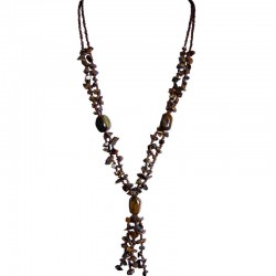 Handcrafted Costume Jewellery Accessories, Fashion Women Small Gift, Tiger's Eye Natural Stone Brown Bead Long Necklace