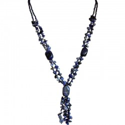 Handcrafted Costume Jewellery Accessories, Fashion Women Small Gift, Sodalite Natural Stone Navy Bead Long Necklace
