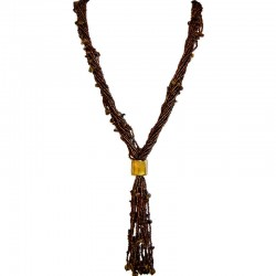 Costume Jewellery Accessories, Fashion Women Small Gift, Natural Stone Tiger Eye Multi-Strand Tassel Brown Bead Long Necklace