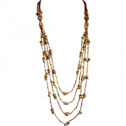 Brown Jasper Natural Stone Brown Bead Multilayer Long Necklace