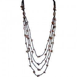 Classic Costume Jewellery Accessories, Fashion Women Small Gift, Unakite Natural Stone Brown Brass Bead Multilayer Long Necklace
