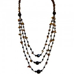 Tigers Eye Natural Stone Black Brass Bead Multi Layered Three Strand Long Necklace