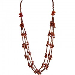 Brown Goldstone Natural Stone Brown Bead Multi Strand Long Necklace