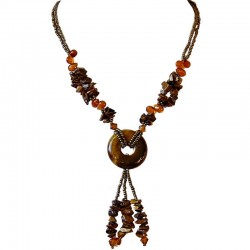 Handmade Costume Jewellery Accessories, Fashion Women Small Gift, Natural Stone Tiger Eye Donut Drop Brass Brown Bead Necklace