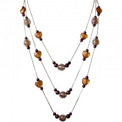 Multi-Strand Necklaces, Costume Jewellery Accessories, Fashion Women Gifts, Brown Bead Floating Multi Layer Long Necklace