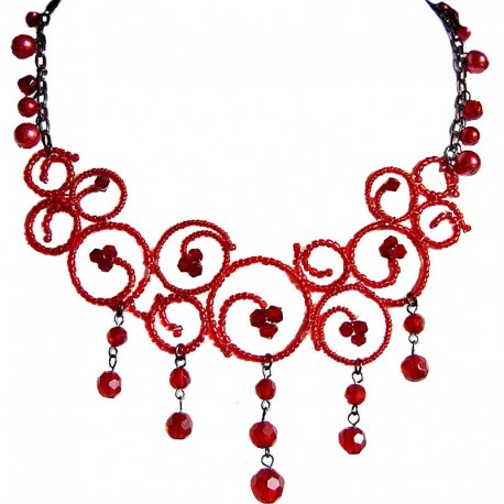 Handcrafted Costume Jewellery Accessories, Fashion Women Gift, Bold Red Bead Sea Wave Cascade Bib Statement Necklace
