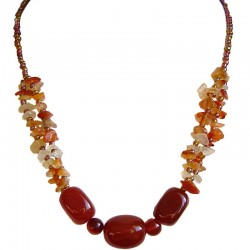 Handcrafted Costume Jewellery Accessories, Handmade Fashion Women Gift, Carnelian Natural Tumble Stone Brown Bead Necklace