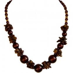 Tigers Eye Brown Semi Precious Natural Stone Pearl Necklace