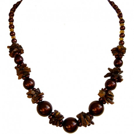 Handcrafted Costume Jewellery Accessories, Fashion Women Gift, Tigers Eye Brown Semi Precious Natural Stone Faux Pearl Necklace