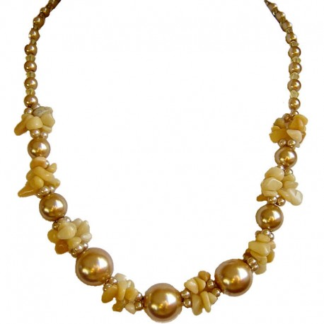 Costume Jewellery Accessories, Fashion Women Gift, Aragonite Yellow Semi Precious Natural Stone Gold Faux Pearl Necklace