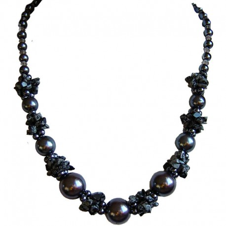 Costume Jewellery Accessories, Fashion Women Gift, Snowflake Obsidian Grey Semi Precious Natural Stone Faux Pearl Necklace