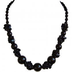 Costume Jewellery Accessories, Fashion Women Gift, Lapis Lazuli Black Semi Precious Natural Stone Faux Pearl Necklace