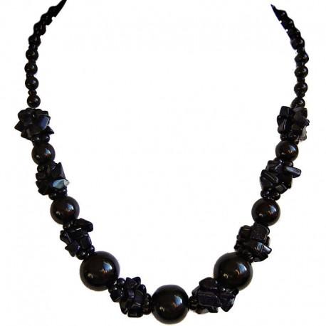 Costume Jewellery Accessories, Fashion Women Gift, Lapis Lazuli Black Semi Precious Natural Stone Faux Pearl Necklace