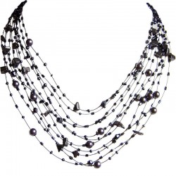 Hancrafted Costume Jewellery, Haematite Tumblechip Multi-strand Floating Grey Pearl Bead Cascade Necklace