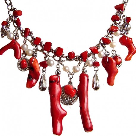 Fashion Women Gift, Natural Stone Costume Jewellery Accessories, Red Coral Reef Cascade Bold Statement Necklace