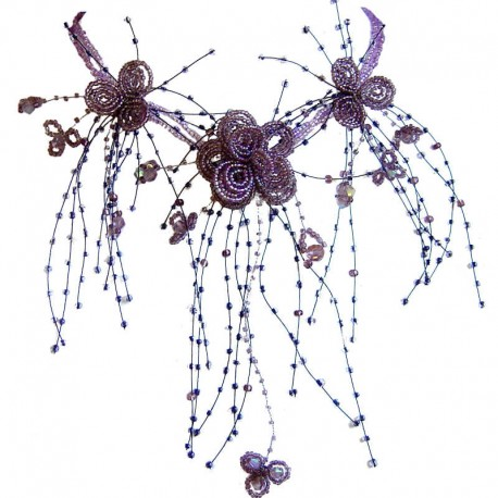 Bridal Costume Jewellery, Women Wedding Party Dress Gift, Purple Floating Bead Cascade Statement Necklace Beaded Flower Choker