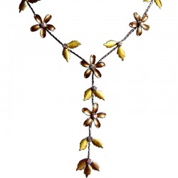 Cute Lovely Costume Jewellery Accessories, Fashion Women Girls Gift, Brown Enamel Flower Leaf Drop Necklace