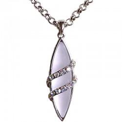 Costume Jewellery, Fashion Women Girls Gift, Light Purple Navette Rhinestone Clear AB Diamante Teardrop Pendant Necklace