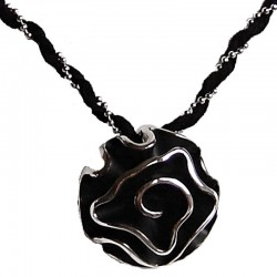 Feminine Costume Jewellery, Fashion Women Girls Birthday Gift, Black Enamel Rose Flower Suede Chain Twisted Necklace