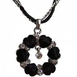 Costume Jewellery Dressy Accessories, Young Women Girls Small Gift, Black Diamante Round Flower Rope Chain Fashion Necklace
