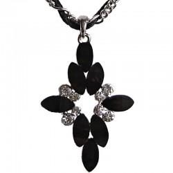 Costume Jewellery Dressy Accessories, Young Women Girls Small Gift, Black Diamante Lozenge Rope Chain Fashion Necklace