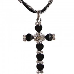 Costume Jewellery Dressy Accessories, Young Women Girls Small Gift, Black Diamante Cross Rope Chain Fashion Necklace