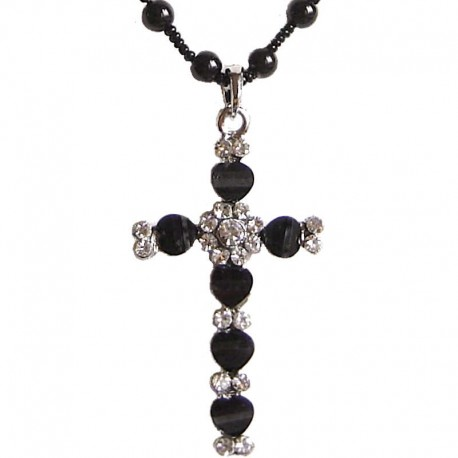 Black cross pendant costume pearl necklaces ukfashion women jewellery costume jewellery pendant dressy accessories fashion young women girls small gift black diamante cross aloadofball Gallery