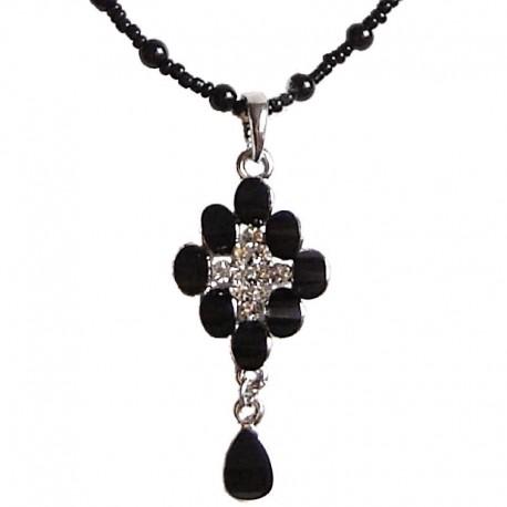 Costume Jewellery Pendant Dressy Accessories, Fashion Young Women Girls Small Gift, Black Diamante Lozenge Drop Pearl Necklace