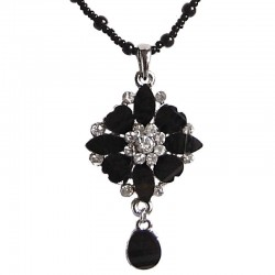 Black Diamante Rhombus Flower Drop Pearl Necklace