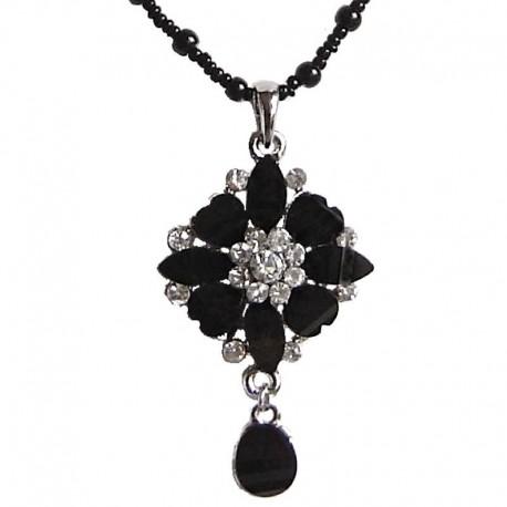 Costume Jewellery Pendant Dressy Accessories, Fashion Women Girls Small Gift, Black Diamante Rhombus Flower Drop Pearl Necklace
