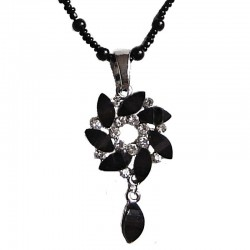 Black Diamante Swirl Drop Pearl Necklace