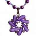 Purple Diamante Round Swirl Pearl Necklace
