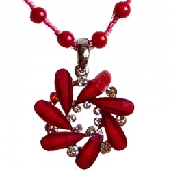 Dark Red Diamante Round Swirl Pearl Necklace