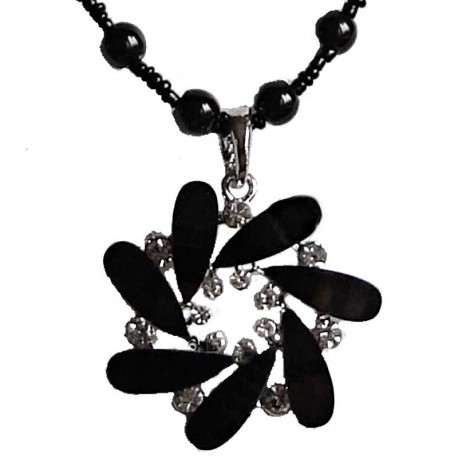 Costume Jewellery Pendant Dressy Accessories, Fashion Young Women Girls Small Gift, Black Diamante Round Swirl Pearl Necklace
