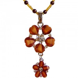 Brown Diamante Double Flower Pearl Necklace