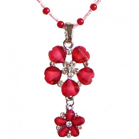 Costume Jewellery Pendant Dressy Accessories, Fashion Young Women Girls Small Gift, Red Diamante Double Flower Pearl Necklace