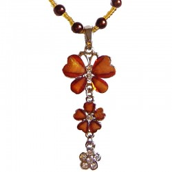 Brown Diamante Butterfly Flower Drop Pearl Necklace