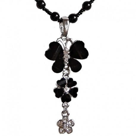Costume Jewellery Accessories, Fashion Young Women Girls Small Gift, Black Diamante Butterfly Flower Drop Pearl Necklace