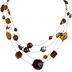 Costume Jewellery Accessories, Fashion Young Women Gift, Brown Mixed Bead Illusion Floating Multi Strand Necklace