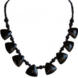 Handmade Bead Costume Jewellery Accessories, Fashion Women Handcrafted Small Gift, Black Fashion Triangle Beaded Necklace