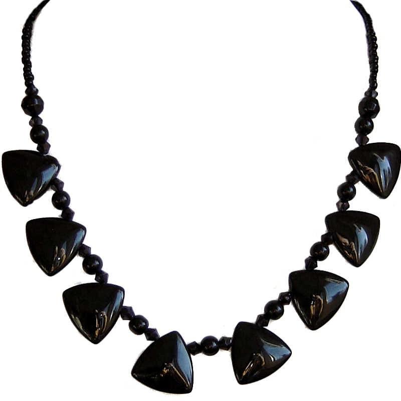 Black Triangle Beaded Necklace|Women Bead Fashion Costume Jewellery UK